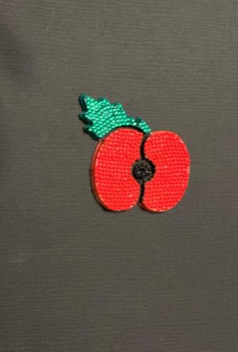 One of our customers creations a poppy covered in gem stones